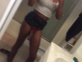 Selfie black shemale waving her almost erected cock