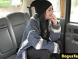 Deepthroating tattooed passenger creampied in taxi
