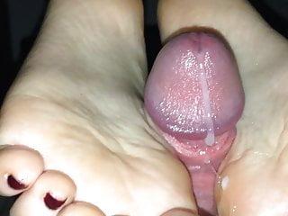 Big Cumshot During A Footjob Of My Wife