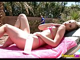 Sunbathing Babe gets a Rubdown and some Dick