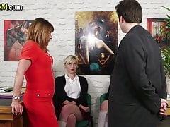 CFNM mature femdom and schoolgirls jerk off sub