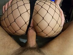 Sexy amateur in fishnets – deep Anal POV