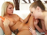 Using a strapon to please her horny girl