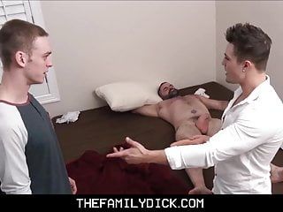 Young hot stepbrothers fuck next to sleeping bear...
