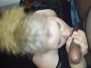 young lady gives good blowjob! cumshot!!