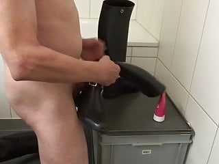 Rubber Riding Boots with Riding Spurs in Urethra and Wax 1.