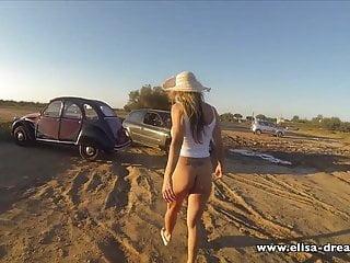 Flashing no panties way back beach...