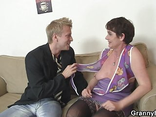 Old hairy granny sucks and rides his big cock