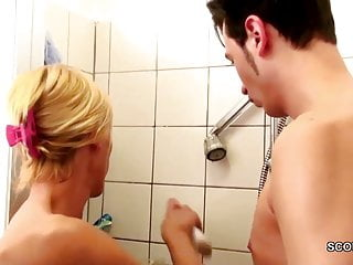 German MILF Seduce to Fuck by Step Son Big Dick in Shower