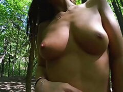 Cute Girl Walks and Undresses in the Park