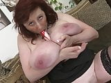Lovely busty mother with hairy pussy