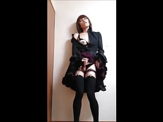 Look at me ! Crossdresser Japanese Standing Masturbation