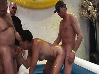 enjoy granny lady and Young gangbang