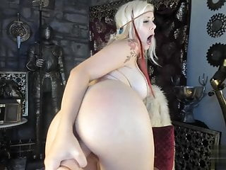 Blonde using her toys...