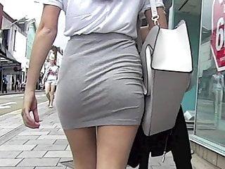 Teen ass in miniskirt