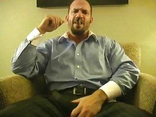 Hunk smoking cigar and jacking...