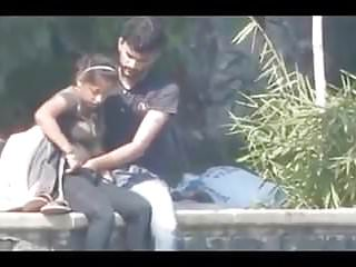 Indian couple having bj and fingering in public park