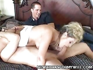 Blonde wife sucking off cock...