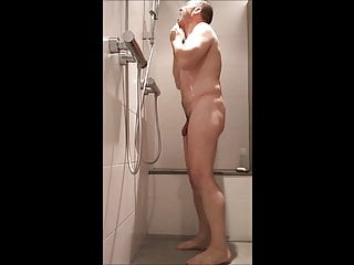 Taking a shower...