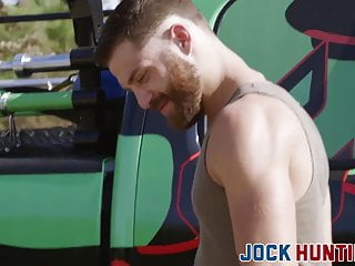 Bearded stud picks up a jock to fuck his tight ass