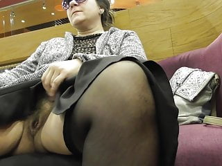 Hairy mature flashing center shopping in
