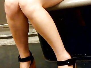 Legs and heels in paris subway 1...