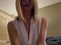 Sexy secretary GF caught me wanking, CFNM
