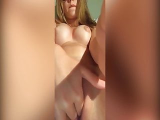 Young blonde sexy girl in her daily exhibitionism
