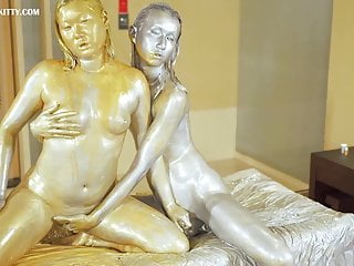 AB045 Gold , silver powder trans lesbian stroking and squirt