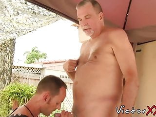 Old gay friends sucking dick and barebacking in the backyard
