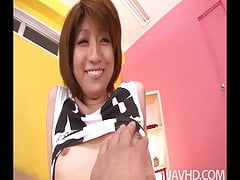 Rei Sasaki  in black and white strips to give a horny guy a