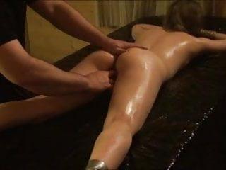 Beauty tied with legs spread wide
