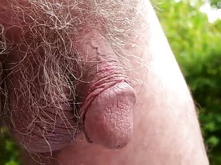 72 grandpa strokes his cut cock outdoors...