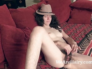 Silki smith on her red couch...