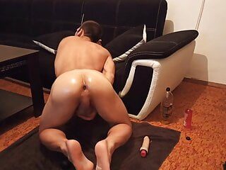 Anal Destroyed oiled Guy Home made
