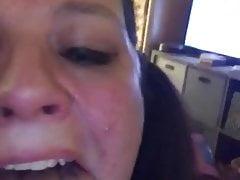 Amy L.- PAWG Big Tit choking w tears on 9 inch dildo