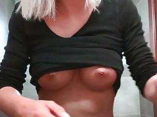 Hot Blonde Fingers Secretly In The Bathroom To Orgasm