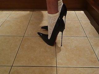 Black High Heels and Cute School Girl Ankle Socks