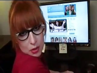 Naughty red head office...