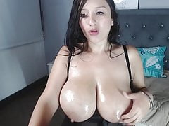 Shanell slaps and milks her big oily Latina boobs