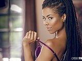 Gorgeous Ebony Teen In Purple Lingerie In Solo Masturbation