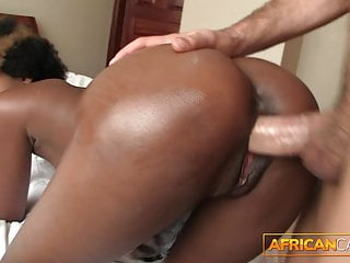 Ebony babe with afro fulfills her dreams...