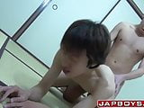Japanese twink riding homo cock wildly on tatami floor