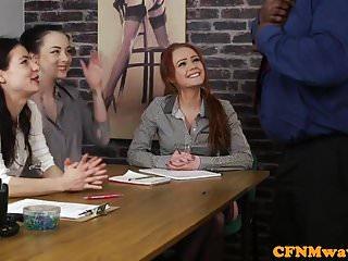 Casting cfnm female agent tugging...