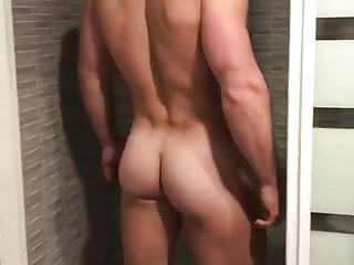 Hunk strips to shower...