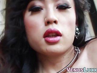 Classy Asian tgirl cums on high heels after masturbation