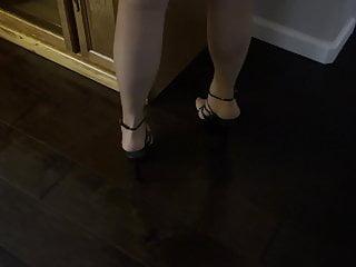Tan Pantyhose Strappy Platforms