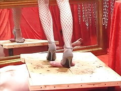 Julias heels drained in the mirror