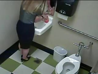 Blonde restroom break 1