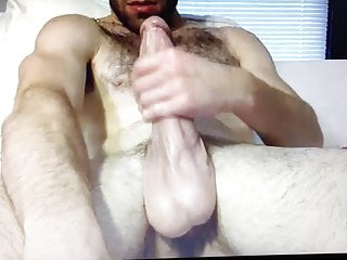 Hairy bearded straight muscle guy edging huge hung thick coc